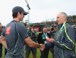 Ben Cutting gets his Australia cap from Greg Chappell, Australia v Sri Lanka, 2nd ODI, Adelaide, January 13, 2013