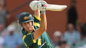 Ben Cutting drives on ODI debut