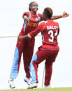 Shaquana Quintyne celebrates a wicket with Shanel Daley, West Indies v South Africa, 3rd Women's ODI, Roseau, January 12, 2013