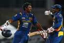 Lahiru Thirimanne is congratulated by Kushal Perera for his century, Australia v Sri Lanka, 2nd ODI, Adelaide, January 13, 2013