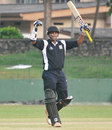 Kaushalya Weeraratne celebrates his half-century, Sinhalese Sports Club v Ragama Cricket Club, Premier Limited Over Tournament, final, Colombo, January 12, 2013