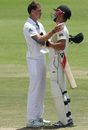 Dale Steyn speaks to Neil Wagner at the end of the game