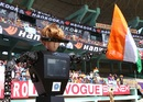 The state association's robot umpire waves the Indian flag