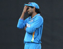 Ravindra Jadeja reacts after spurning an opportunity for a run-out