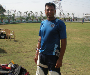Shitanshu Kotak at practice at the Saurashtra Cricket Association Stadium, Rajkot, January 15, 2013