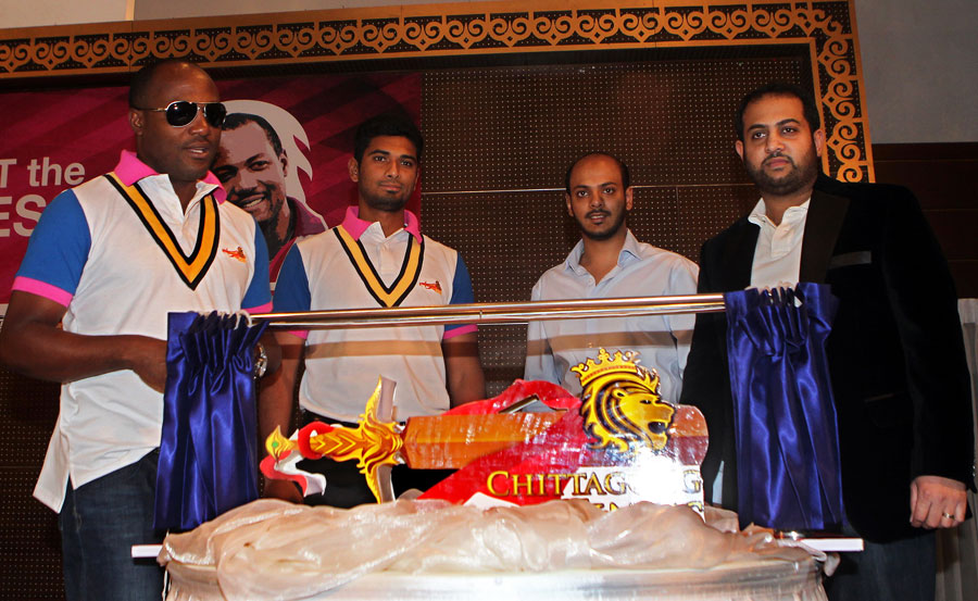 Brian Lara at his unveiling as a Chittagong Kings ambassador
