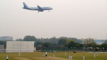 A plane prepares its descent over the Palam Ground
