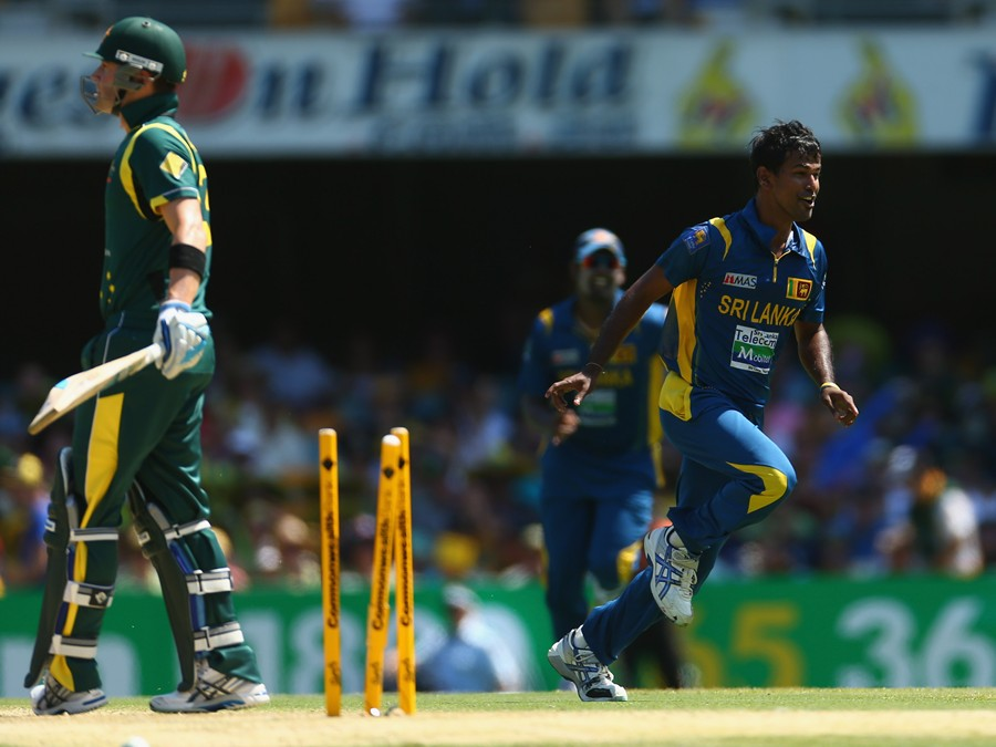 Nuwan Kulasekara celebrates after bowling Michael Clarke