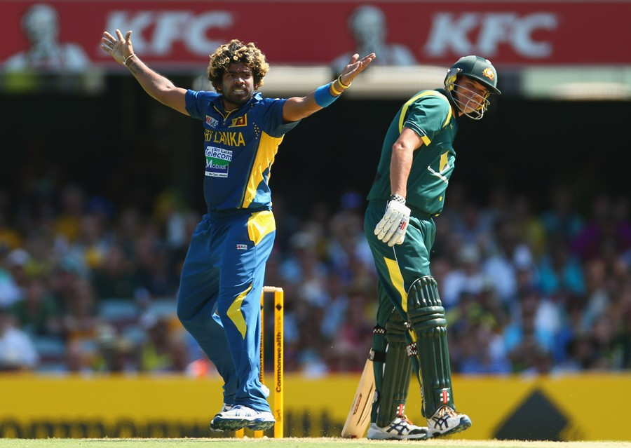 Lasith Malinga appeals for the wicket of Clint McKay