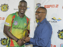 Darren Sammy receives the Man-of-the-Match award, Barbados v Windward Islands, Caribbean T20, January 17, 2013