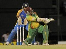 Liam Sebastien plays a switch hit during his unbeaten knock, Barbados v Windward Islands, Caribbean T20, January 17, 2013