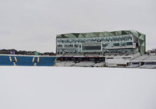 A thick blanket of snow lies on the pitch at Headingley, January 20, 2012