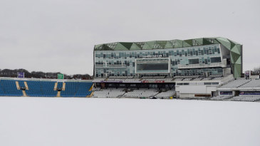 A thick blanket of snow lies on the pitch at Headingley