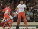Kieron Pollard celebrates T&T's title win