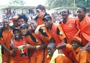 Mashonaland Eagles players celebrate their Pro50 title win