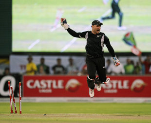 Brendon McCullum leaps after completing another run out, South Africa v New Zealand, 2nd ODI, Kimberley, January 22, 2013