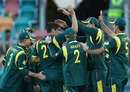 Moises Henriques is congratulated by team-mates after a wicket