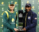 George Bailey and Mahela Jayawardene hold the ODI series trophy, Australia v Sri Lanka, 5th ODI, Hobart, January 23, 2013