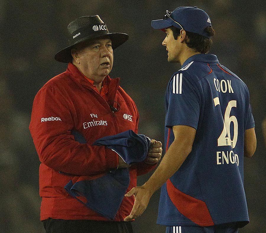 Alastair Cook has a word with the umpire