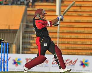 Brad Hodge smashed a 38-ball 58 but his side lost a tight contest, Barisal Burners v Rangpur Riders, Bangladesh Premier League, Khulna, January 23, 2013