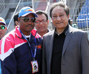 Brian Lara with BCB chief Nazmul Hassan after the Barisal-Chittagong game