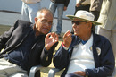 Debu Mitra has a word with Niranjan Shah, Saurashtra v Punjab, Ranji trophy 2012-13, semi-final, Rajkot, January 20, 2013