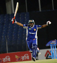 Shahriar Nafees reacts after reaching his century, Khulna Royal Bengals v Duronto Rajshahi, Bangladesh premier League, Khulna, January 24, 2013