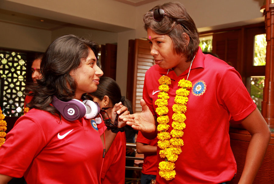 Mithali Raj and Jhulan Goswami at the Women's World Cup welcome ceremony