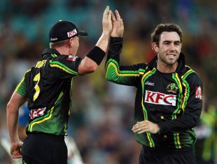 Glenn Maxwell chipped in with two wickets, Australia v Sri Lanka, 1st T20, Sydney, January 26, 2013
