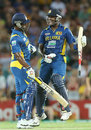 Thisara Perara and Angelo Mathews celebrate victory, Australia v Sri Lanka, 1st T20, Sydney, January 26, 2013
