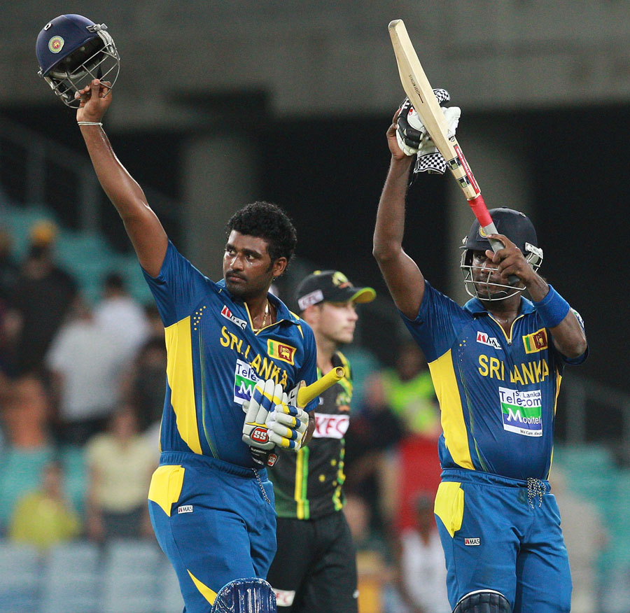 Thisara Perara and Angelo Mathews saw Sri Lanka to a five-wicket win