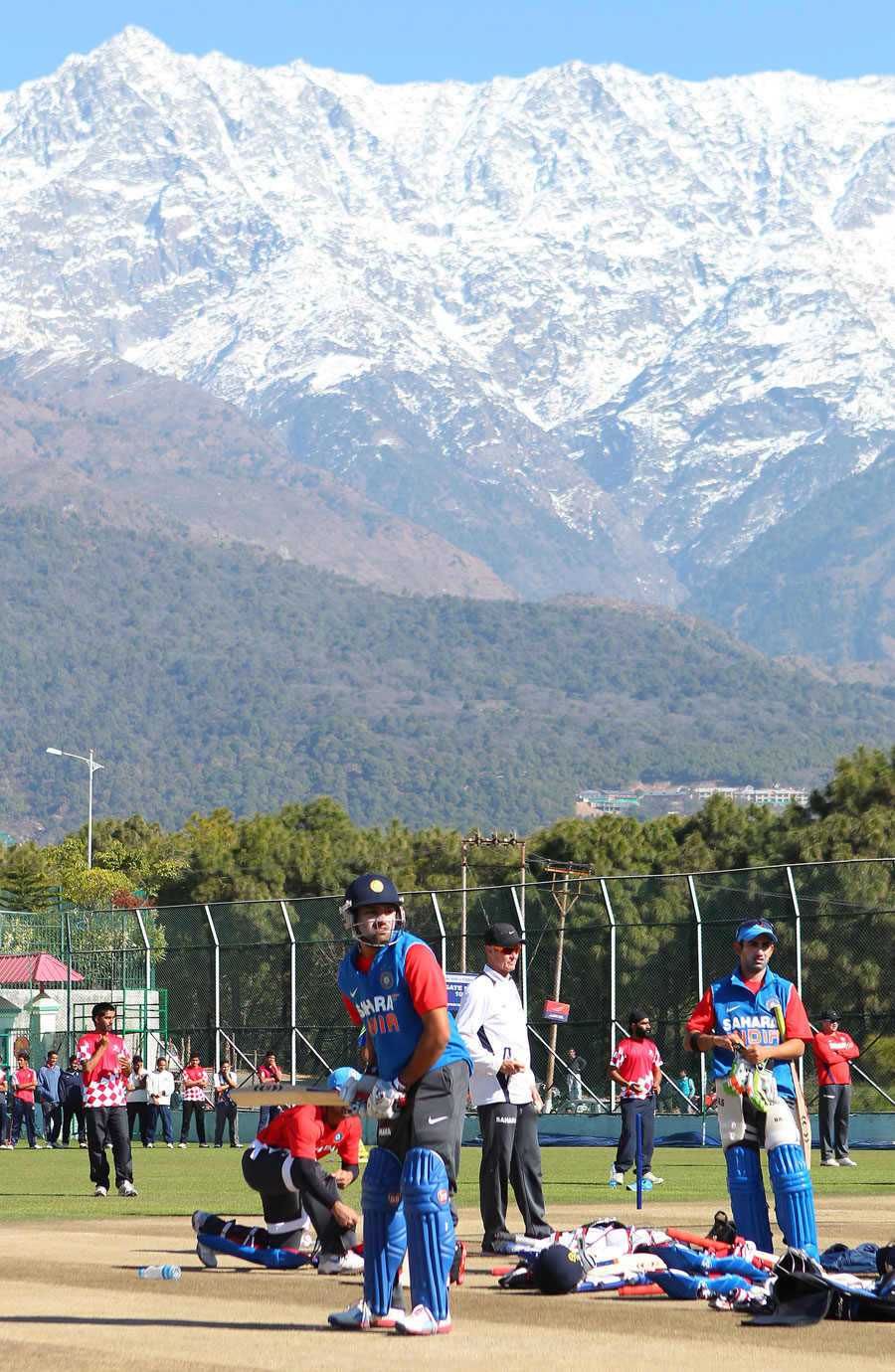 Rohit Sharma practises with the Himalayas as a backdrop