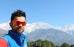 Virat Kohli poses for a photo in front of the Himalayas, India v England, 5th ODI, Dharamsala, January 26, 2013