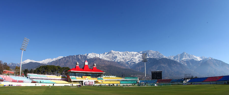 Panoramic view of the Himachal Pradesh Cricket Association Stadium