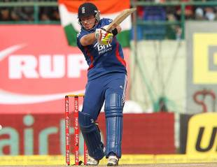 Ian Bell slashes at one, India v England, 5th ODI, Dharamsala, January 27, 2013