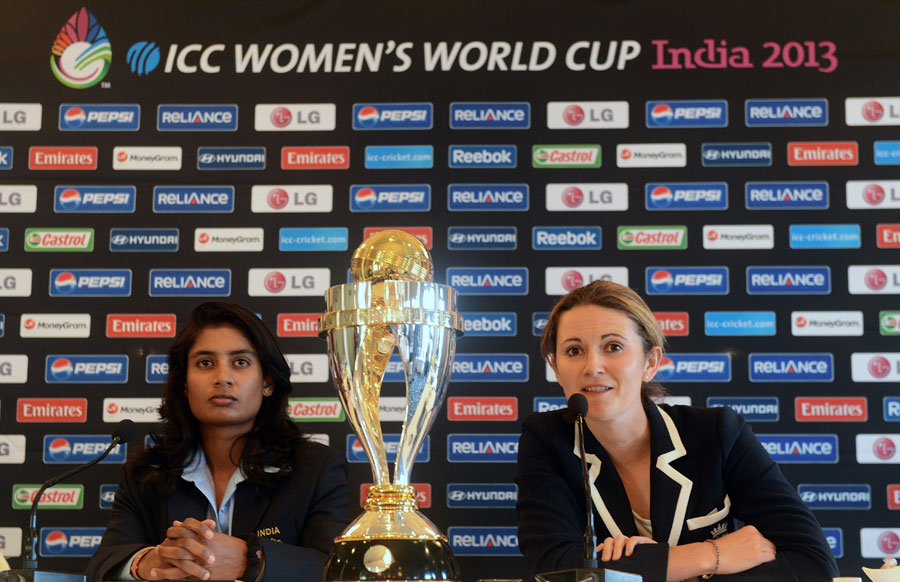 Charlotte Edwards and Mithali Raj talk to the press