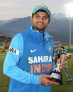 Suresh Raina was named the Man of the Series, India v England, 5th ODI, Dharamsala, January 27, 2013