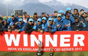 The Indian team poses after winning the series 3-2, India v England, 5th ODI, Dharamsala, January 27, 2013