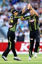 Ben Laughlin celebrates the wicket of Dinesh Chandimal with Adam Voges, Australia v Sri Lanka, 2nd T20, Melbourne, January 28, 2013