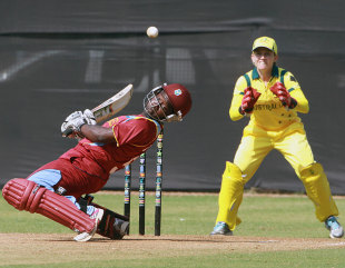 Deandra Dottin ducks under a bouncer, West Indies v Australia, Women's World Cup warm-up match, Mumbai, January 28, 2013