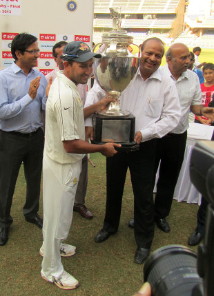 Mumbai captain Ajit Agarkar receives the Ranji Trophy, Mumbai v Saurashtra, Ranji Trophy, final, 3rd day, January 28, 2013