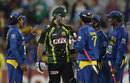 Glen Maxwell continued to exchange words with the Sri Lanka players after the final ball