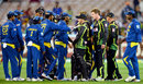 There were heated exchanges after a closely contested match, Australia v Sri Lanka, 2nd T20, Melbourne, January 28, 2013