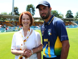 Fawad Ahmed with Australia's Prime Minister Julia Gillard, Prime Minister's XI v West Indians, Canberra, January 29, 2013