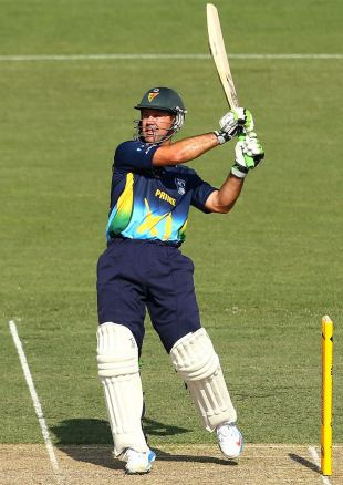Ricky Ponting pulls during the tour game, Prime Minister's XI v West Indians, Canberra, January 29, 2013