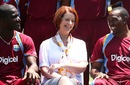 Darren Sammy and Dwayne Bravo with Australia's Prime Minister Julia Gillard, Prime Minister's XI v West Indians, Canberra, January 29, 2013