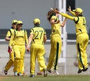 Australian players celebrate the fall of a wicket, India v Australia, Women's World Cup warm-up, Mumbai, January 29, 2013