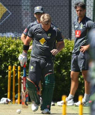 David Warner fractured his thumb after getting hit by Mitchell Johnson while batting during a net session, Perth, January 30, 2013
