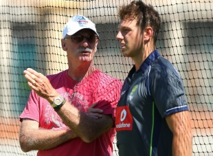 Dennis Lillee has a word with James Pattinson, Perth, January 30, 2013