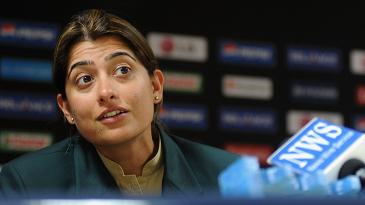 Sana Mir at a press conference